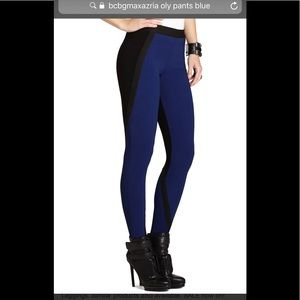 BCBGMAXAZRIA blue colorblocked leggings . Size M